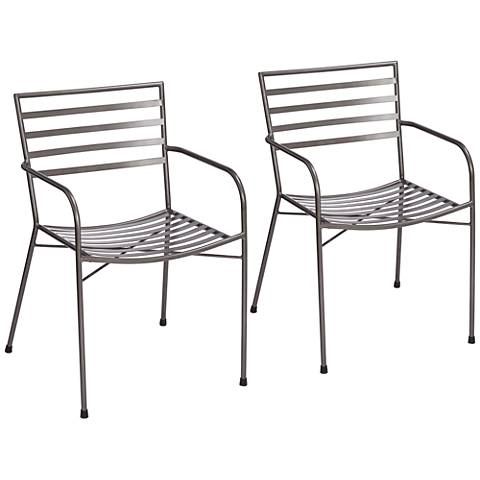 Lenard Gray Metal Stacking Outdoor Armchairs Set of 2