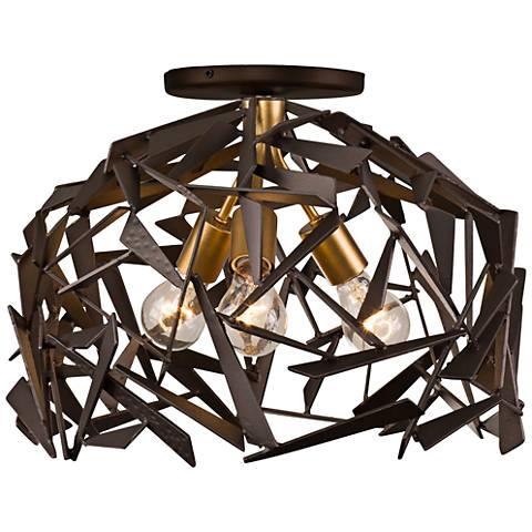 "Bermuda 18""W Antique Gold and Bronze 3-Light Ceiling Light"