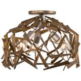 """Bermuda 18""""W Silver and Champagne Mist 3-Light Ceiling Light"""