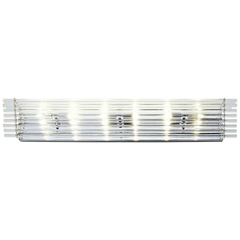"""Empire State 36"""" Wide Polished Stainless Steel Bath Light"""