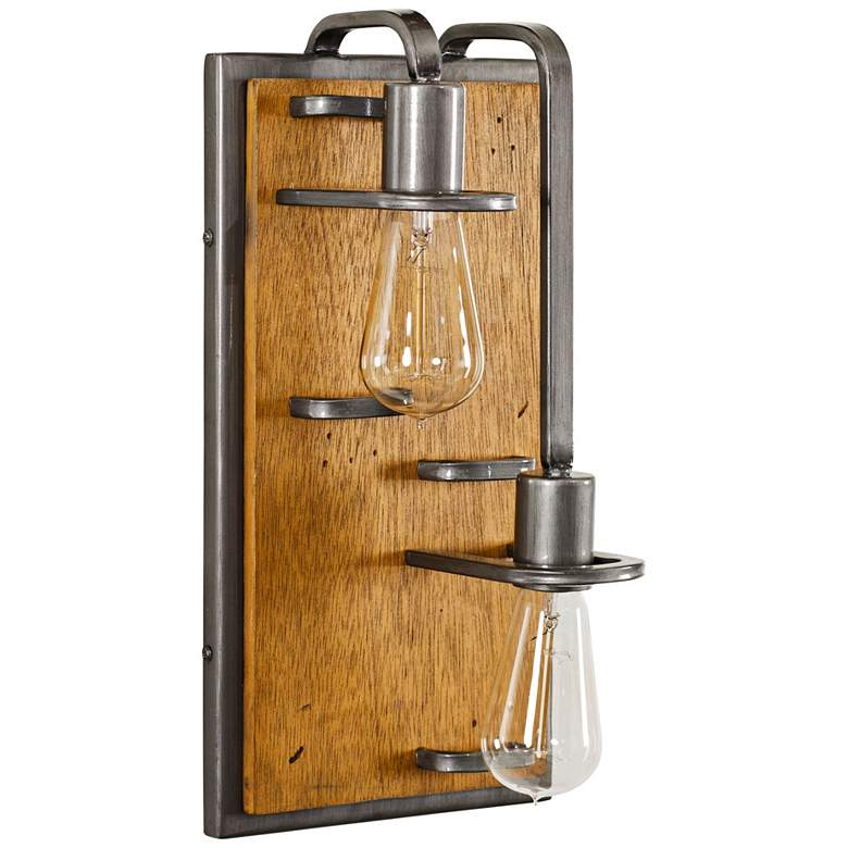 "Lofty 16""H Steel and Wheat 2-Light Right Sided"