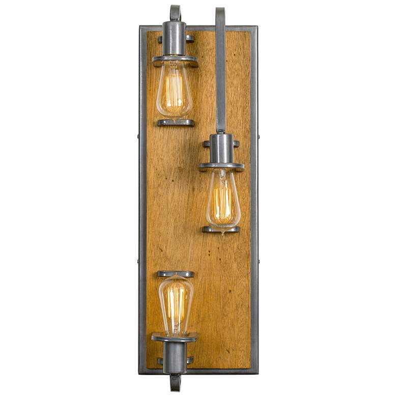 """Varaluz Lofty 23 1/2""""H Steel and Wheat 3-Light Wall Sconce"""
