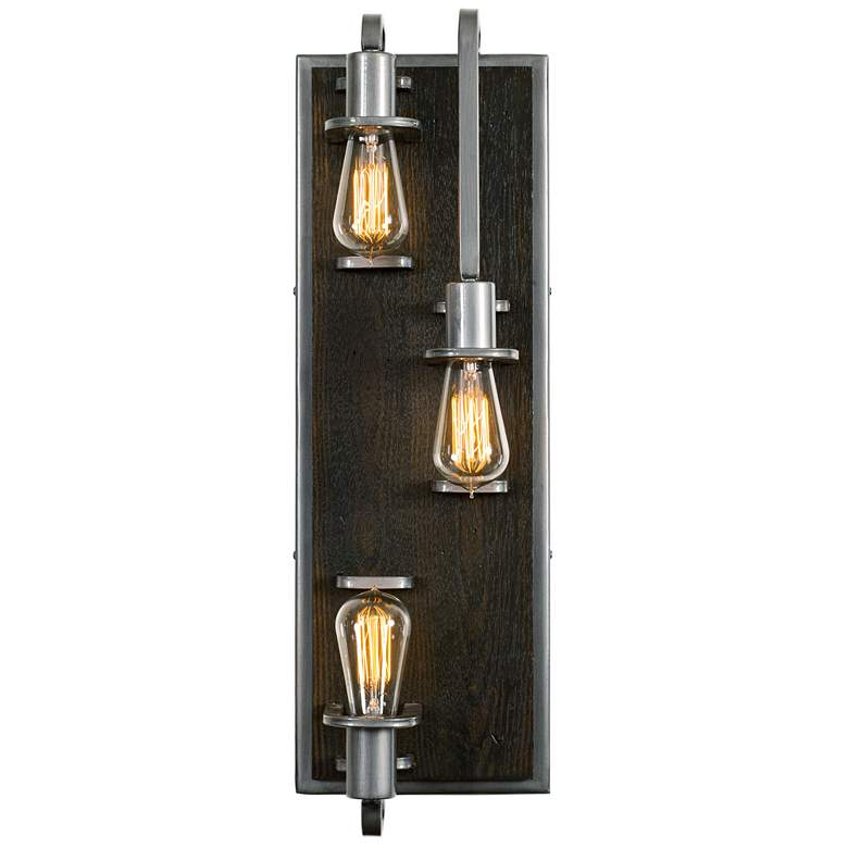 """Lofty 25 1/2"""" High Steel and Faux Zebrawood 3-Light Wall Sconce"""