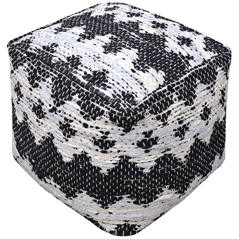 Uttermost Rewa Black and Ivory Recycled Leather Pouf Ottoman