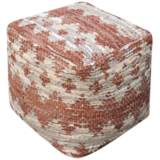 Uttermost Rewa Beige and Brown Recycled Leather Pouf Ottoman