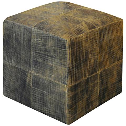 Uttermost Chivaso Saddle Brown Leather Cube Ottoman