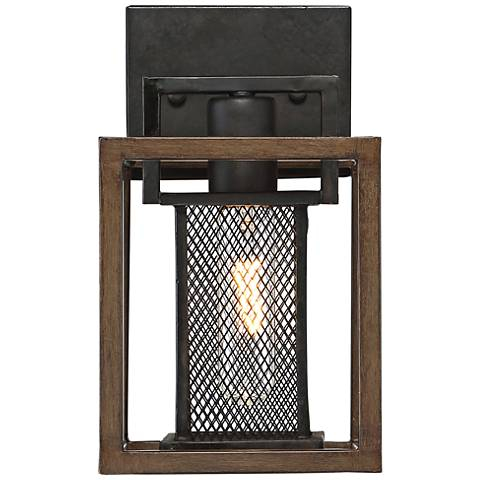"Varaluz Rio Lobo 10 1/2"" High Dark Oak and Black Wall Sconce"