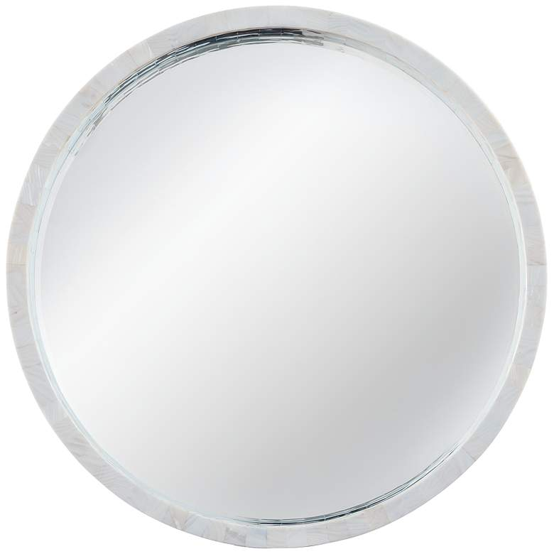 """Shoreline Mother of Pearl 30"""" Round Wall Mirror"""