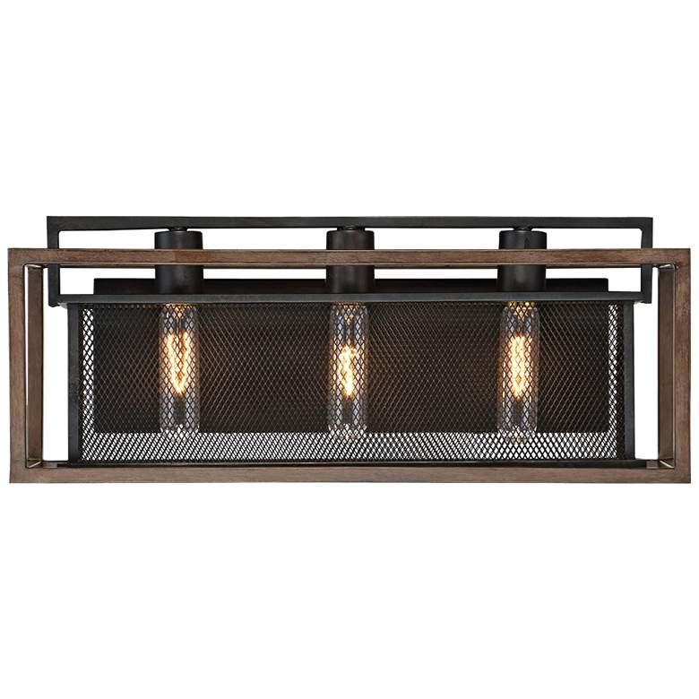 "Varaluz Rio Lobo 21"" Wide Dark Oak and Black 3-Light Bath Light"