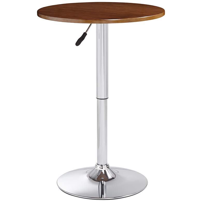 """Bentley 23 1/2"""" Wide Wood and Chrome Adjustable Pub Table"""