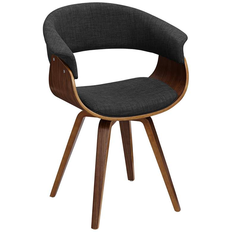 Summer Charcoal Fabric and Walnut Wood Dining Chair