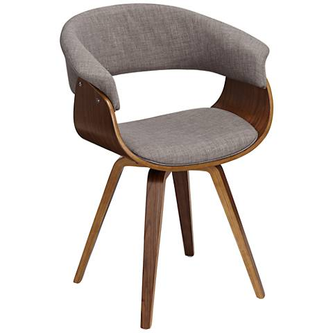 Summer Light Gray Fabric and Walnut Wood Dining Chair