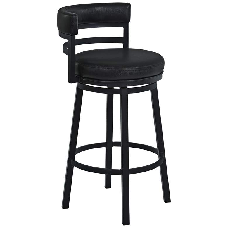 """Madrid 26 1/2"""" Ford Black Faux Leather Swivel Counter Stool"""