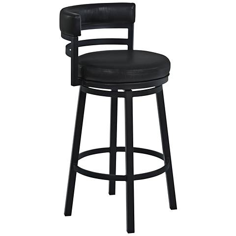 "Madrid 26 1/2"" Ford Black Faux Leather Swivel Counter Stool"