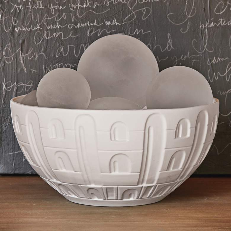 "Coliseum 12 1/2"" Wide Matte White Ceramic Bowl"