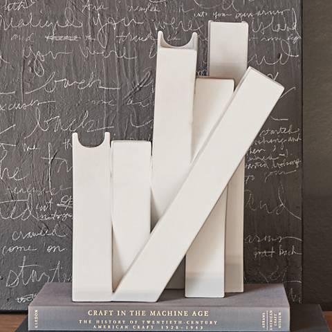 "Collage Matte White 13"" High Ceramic Vase"