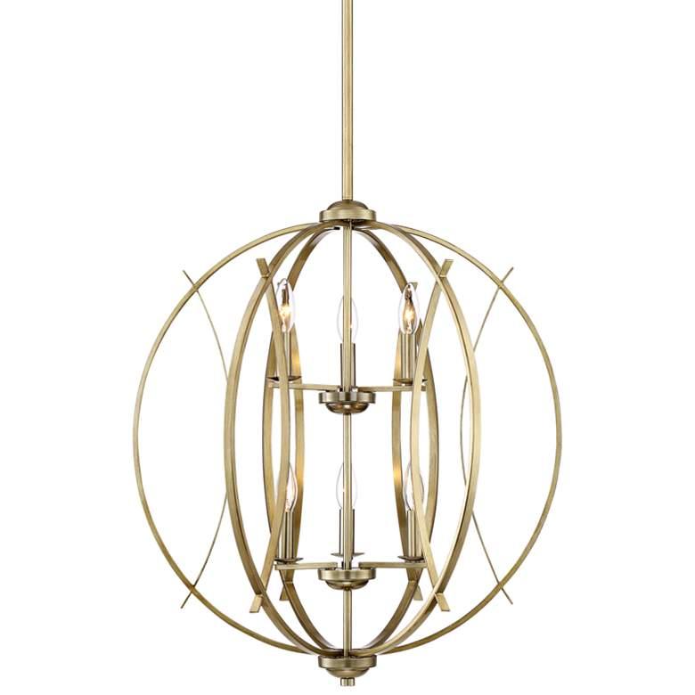 "Possini Euro Spherical 24"" Wide Antique Gold 6-Light Pendant"