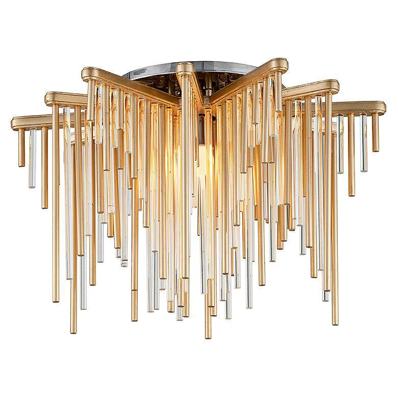 """Corbett Theory 20 3/4"""" Wide Gold Leaf LED Ceiling Light"""