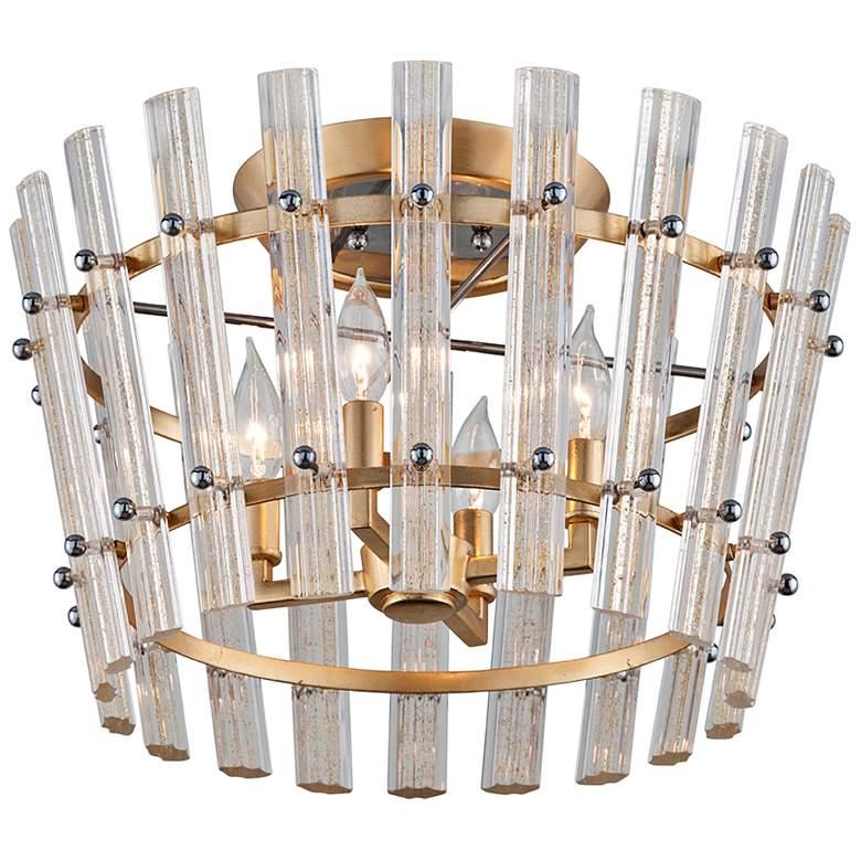 "Corbett Sauterne 19"" Wide Gold Leaf 4-Light Ceiling Light"