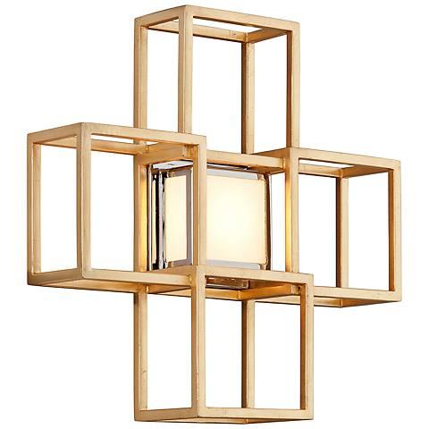 "Corbett Metropolis 15"" High Gold Leaf LED Wall Sconce"