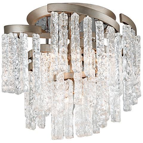 "Corbett Mont Blanc 18 1/4""W Modern Silver Leaf Ceiling Light"