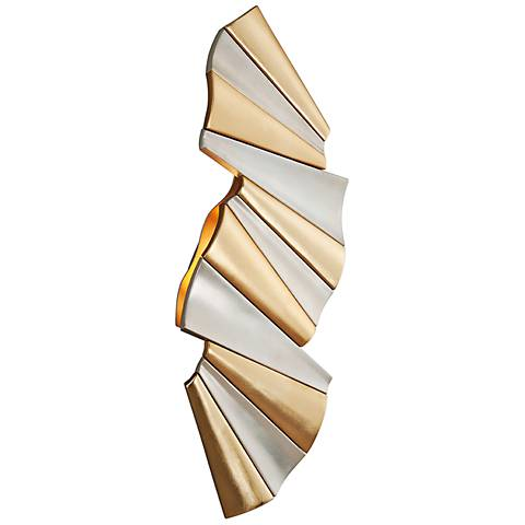 "Taffeta 25"" High Gold Leaf and Silver Leaf LED Wall Sconce"