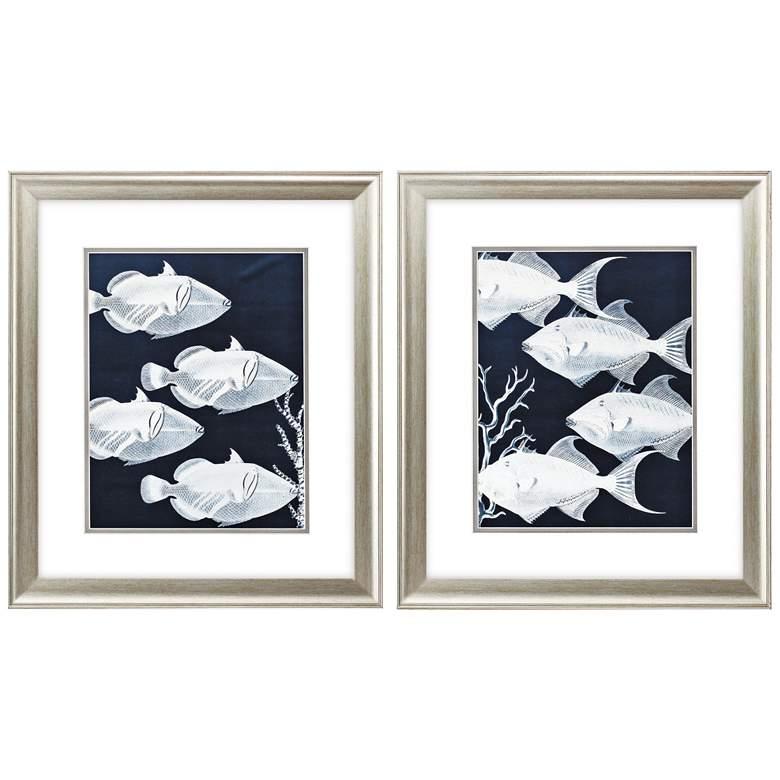 """Deep Blue Sea 22"""" High 2-Piece Framed Wall Art Set"""