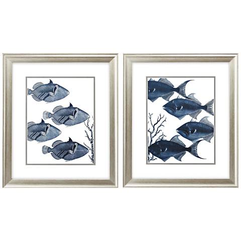 "Dark Fish 22"" High 2-Piece Framed Wall Art Set"