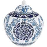"Blue Two-Tone 9 1/2"" High Ceramic Tea Jar"