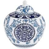 "Blue Two-Tone 9 1/2"" High Ceramic Tea Jar"