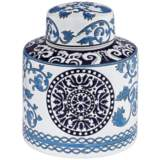 "Blue Two-Tone 7 1/4"" High Small Ceramic Tea Jar"