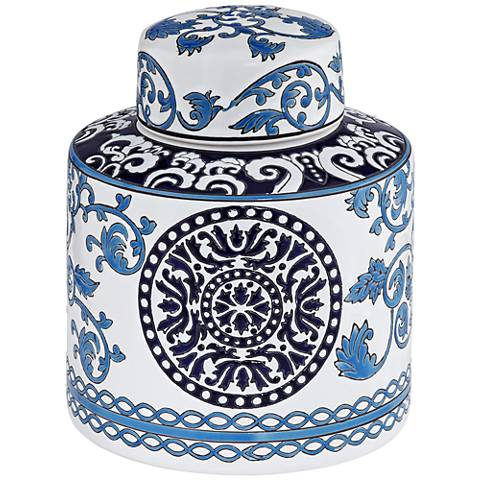 "Blue Two-Tone 7 1/4"" High Small Ceramic Tea Jar"
