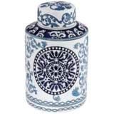 "Blue Two-Tone 12 3/4"" High Ceramic Tea Jar"