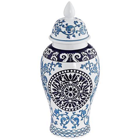 "Blue Two-Tone 18 1/2"" High Ceramic Temple Jar"