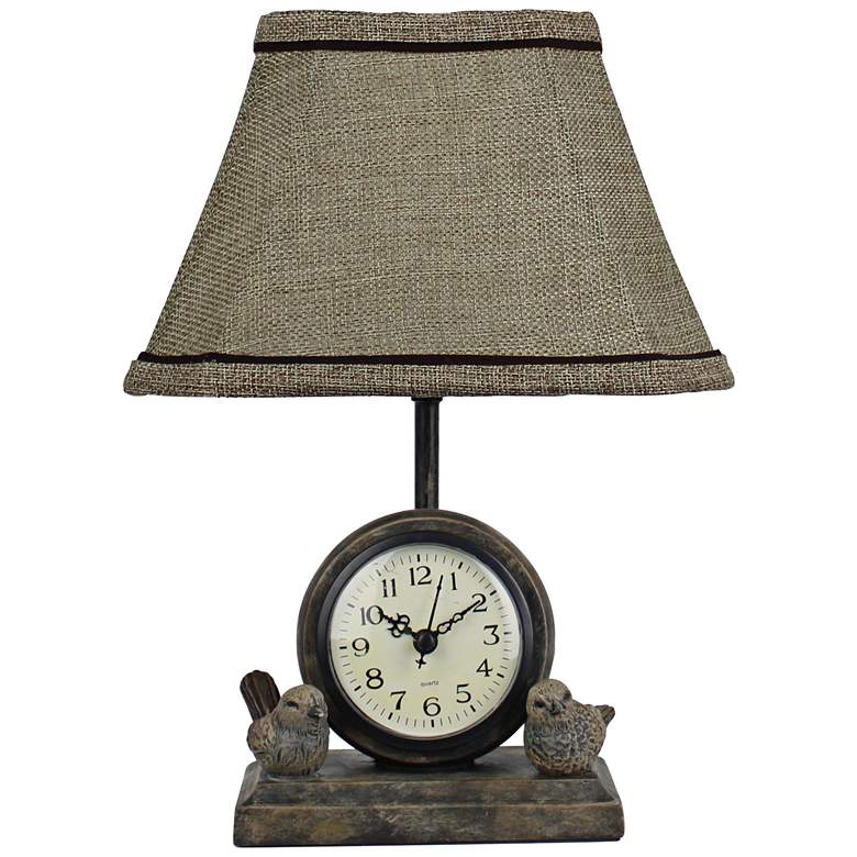 "Spring Forward 12"" High French Songbird Clock Table Lamp"
