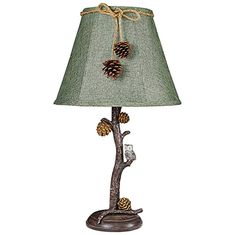Pine Branch Accent Table Lamp with Owl and Pine Cones