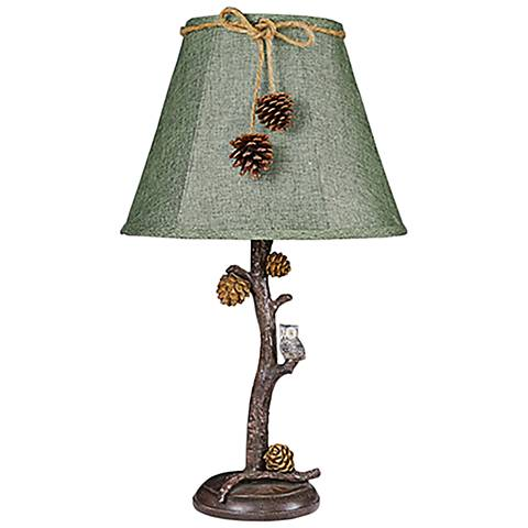 Pine Branch Accent Table Lamp with Owl Unit
