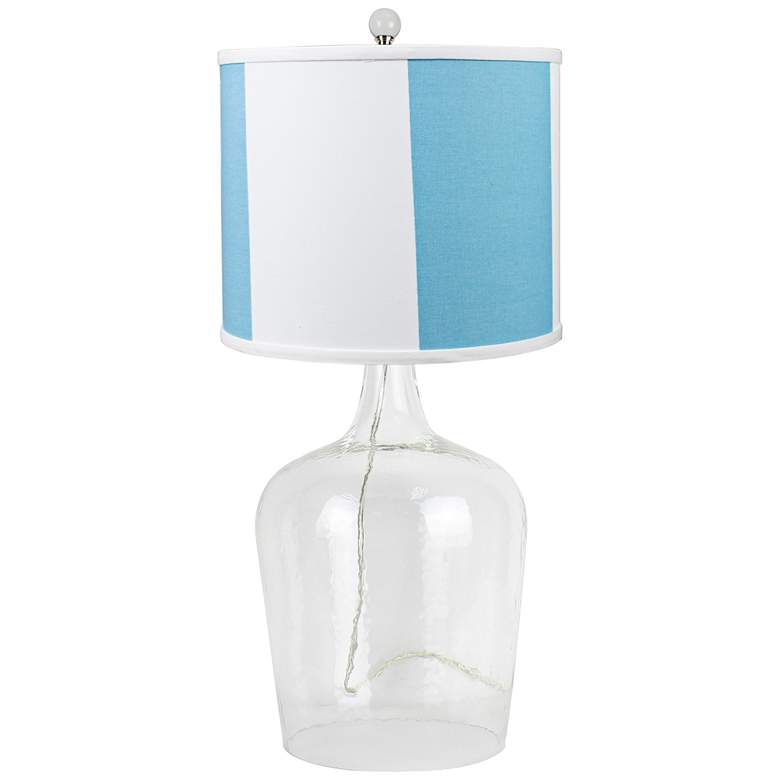 Cordoba Clear Glass Table Lamp with Teal Shade