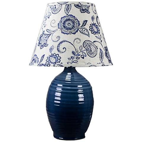 Ridges Blue Ceramic Table Lamp with Pine Green Glaze