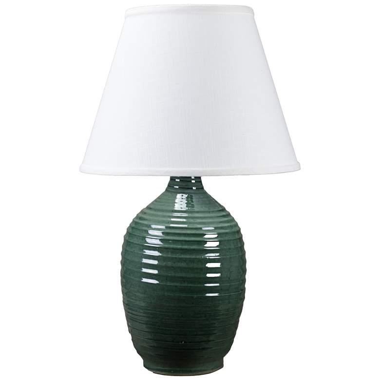 Ridges Green Ceramic Table Lamp with Pine Green Glaze
