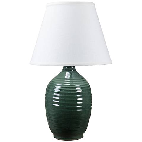 Ridges Green Ceramic Table Lamp with Pine Green Glaze