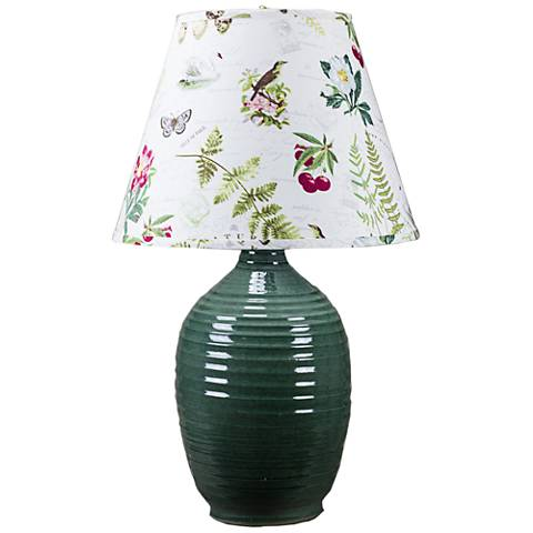 Ridges Green Ceramic Table Lamp with Ivory Glaze