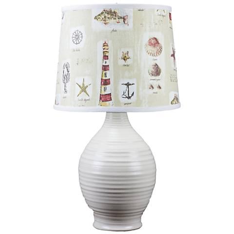 Ridges Ivory Ceramic Table Lamp