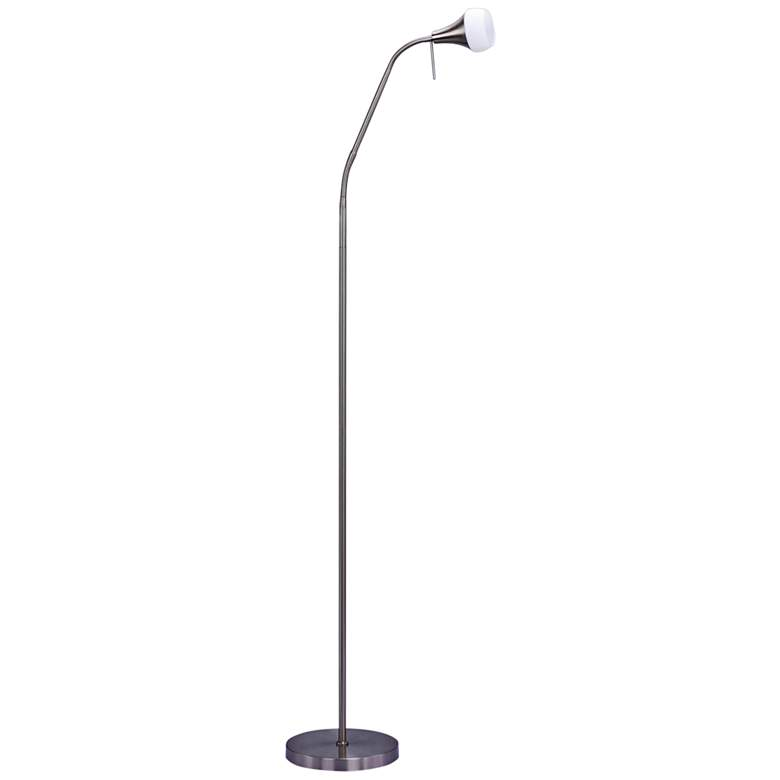 Gemini Brushed Steel Adjustable Metal Floor Lamp
