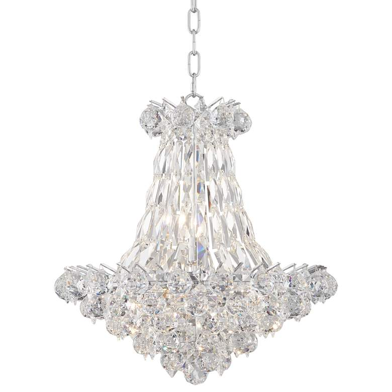 """Pricilla 19"""" Wide Chrome and Clear Crystal Chandelier"""