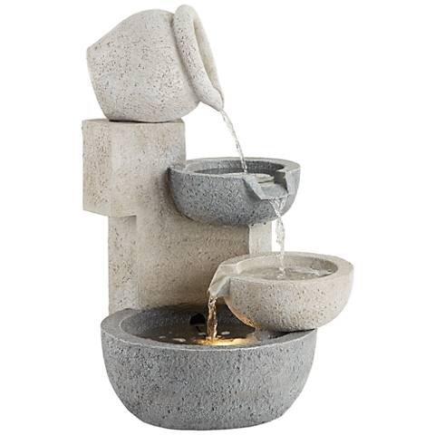 "Tiered Bowl 25"" High Stone LED Indoor/Outdoor Fountain"