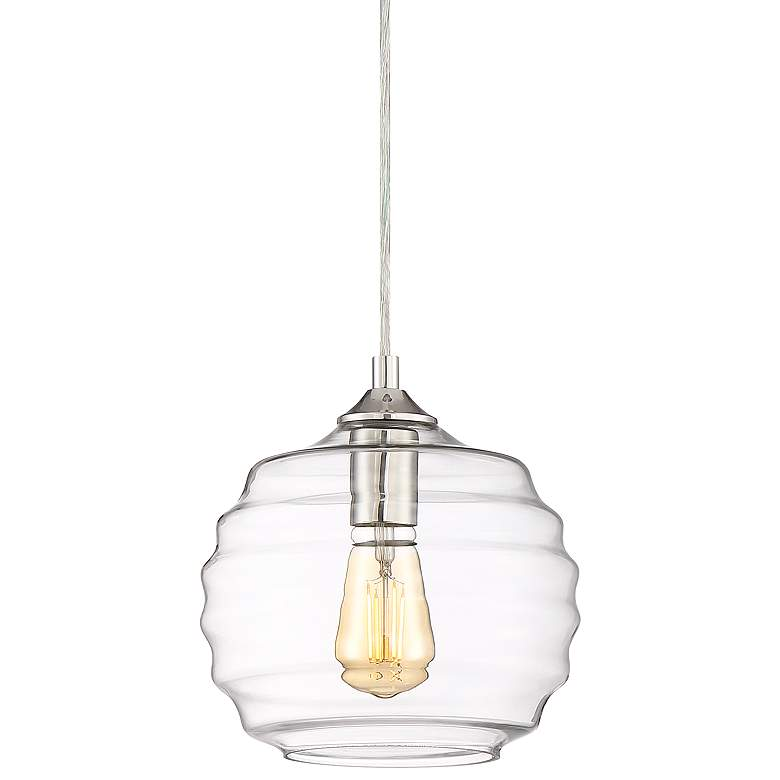 "Salishan 8 1/2"" Wide Polished Nickel LED Mini Pendant"