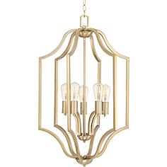 "Coursere 20"" Wide Warm Brass 5-Light LED Entry Pendant"