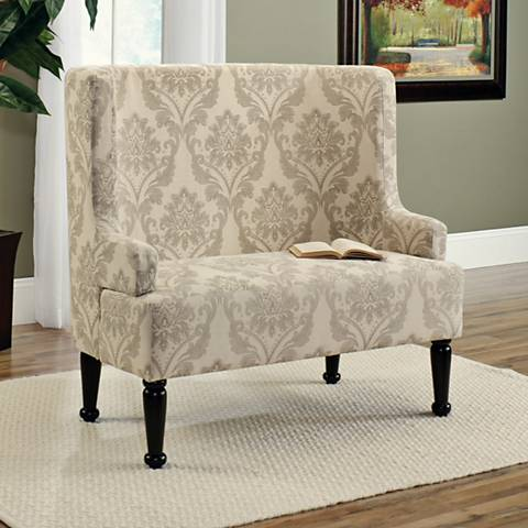 Sauder Barrister Lane Audrey Cream Printed Linen Bench