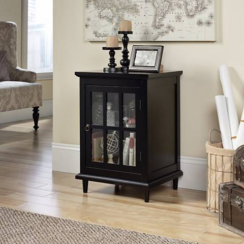 Sauder Barrister Lane Black 1-Door Display Cabinet